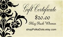 Shop Polka Dots Gift Certificate
